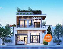 Thiết kế biệt thự phố hiện đại 2 tầng đẹp mặt tiền 7m