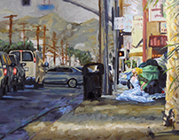 Models in the streets painting 1