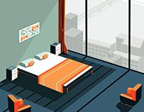 Drawing Vector Art in Adobe illustrator - Room 3D