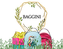 design of the shop window of bags for the summer