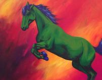 Green horse in fire field
