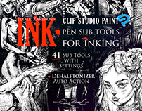 INK. for Clip Studio Paint: 41 Sub tools for Inking