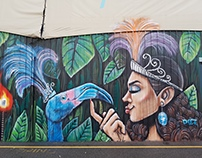 Blue Flamingo Mural