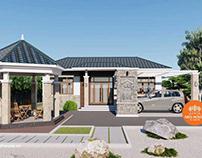 Thiết kế nhà biệt thự mái thái 1 tầng hiện đại 15x13m