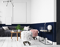 Blue and white scandinavian