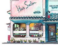 """Tokyo Storefront"" illustration series"