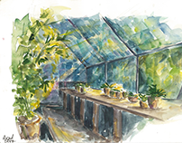 watercolor aquarelle sketching of greenhouse orangery