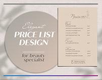 Elegant price-list design for beauty specialist