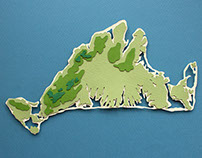 Martha's Vineyard Cut Paper Topography Maps
