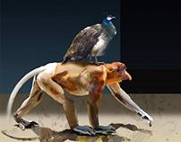 How the ape flees the world. 6 digital painings.