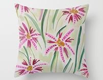 Spring Grass, Flowers, Textile Print