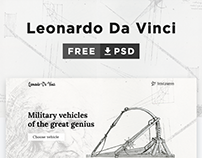 Leonardo Da Vinci - One Page Free PSD Template