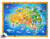 Discover Australia Jigsaw Puzzle Illustration