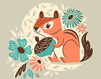 Chipmunk & Flowers