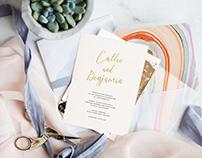 Wedding Invitation - Minimalistic Gold Foil