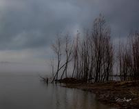 Morning fog on the Mississippi River.