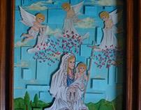 Jesus y María en la caja de cristal