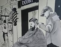 Mural Double R Barbershop Cabang III