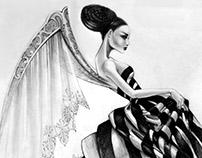 WOMAN WITH WINGS. Dibujo a lápiz