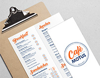 Café Motus Identity and Menu Design