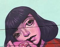 """""""Girl on walls"""" Ban Pong street art"""