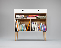 V commode in white lacquered soild board beech