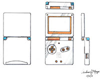 Orthographic View - Gameboy Advance SP