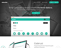 Landing page for web app focus on education program.