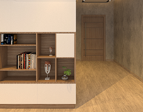 shelf unit and storage for corridor angle