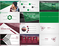 2in1+ Red green business plan PowerPoint template