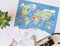 Illustrated mapamundi & notebooks for Tropico Polar