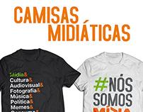 Camisas temáticas para o curso de Estudos de Mídia