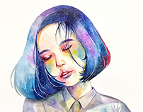 Watercolor Portrait Drawing