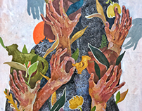 """Gather-Give"" 85x85 cm canvas, mixed technique"