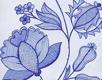 Botanical blue fineliner drawing