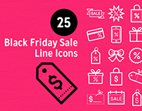 Black Friday Sale Line Icons