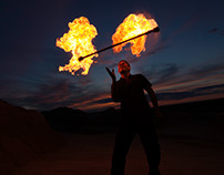 Fire Twirler in the Badlands