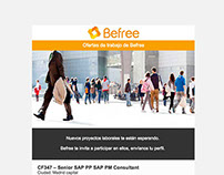 Newsletter con ofertas laborales para Befree