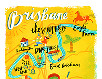 Illustrated map of Brisbane, Australia