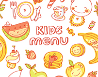 Kids Menu vector illustrations set