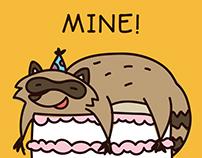 Quirky Animal Birthday Card illustrations