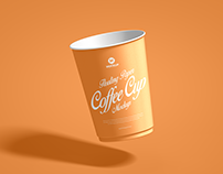Free Floating Paper Cup Mockup