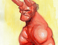 Hellboy - Watercolor