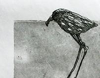 """""""Ptaszek II"""" aquatint and etching miniature"""