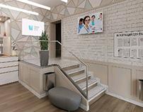 Визуализация холла стоматологической клиники.