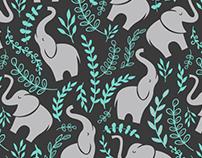 Elephant and Vine Print