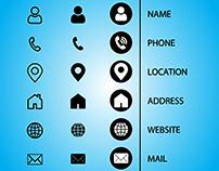 NAME, CALL, LOCATION, WEB, MAIL ICON DESIGN