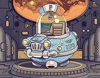 Retrofuturistic space police car (pixel art)