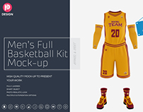 Men's Full Basketball Kit Crew-Neck Jersey Mock up
