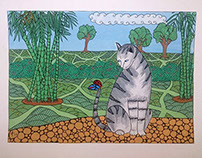 Grey Cat with Butterfly